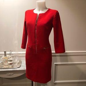 Elegant Ann Tayler red gold zip up 2 pocket dress.